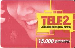 TARJETA DE PARAGUAY DE TELE 2 DE15000 GUARANIES (PAPEL)