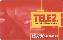 TARJETA DE PARAGUAY DE TELE 2 DE15000 GUARANIES (PLASTICO) - Paraguay