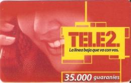 TARJETA DE PARAGUAY DE TELE 2 DE 35000 GUARANIES