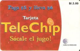 TARJETA DE PANAMA DE TELECHIP B/.5  NARANJA-ORANGE - Panama