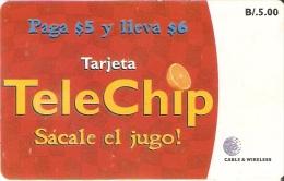 TARJETA DE PANAMA DE TELECHIP B/.5  NARANJA-ORANGE