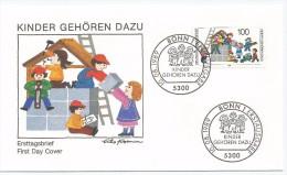 Allemagne RFA 1989 1267 FDC Enfants Construisant Une Maison Kinder Gehören Dazu - Childhood & Youth