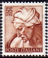ITALIA REPUBBLICA ITALY REPUBLIC 1961 MICHELANGIOLESCA SIBILLA CUMANA LIRE 55 MNH - 1961-70: Mint/hinged