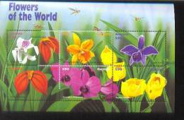 GUYANA   3387  MINT NEVER HINGED MINI SHEETS OF FLOWERS - ORCHIDS   #  M-372-3  ( - Orchidee