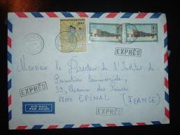 LETTRE EXPRES PAR AVION POUR FRANCE TP SCOUTISME 300F + TP N'GOUABI 80F X2 OBL.4.8.83 BRAZZAVILLE - BACONGO - Congo - Brazzaville