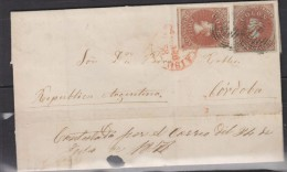 O) 1858 CHILE, PAIR WITH GREAT MARGINS, (2) 5 CTVOS, WITH GREAT MARGINS , VALPARAISO, TO CORDOBA ARGENTINA - Chile