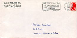 Flamme CIO,Comité International Olympique 1894-1984,Paris,Societé Tremois SA,02 St Quentin,lettre 28.6.84 - Unclassified