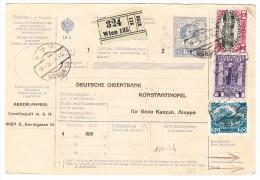 Österreich - Paketkarte 18.5.1916 Von Wien (GS Mit Zusatz) Nach Constantinopel Mit Auf Rückseite Osmanische Marken - 1850-1918 Imperium