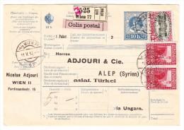 Österreich - Paketkarte 11.5.1916 Von Wien (GS Mit Zusatz) Nach Constantinopel Mit Auf Rückseite Osmanische Marke - Briefe U. Dokumente