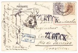 Österreich - 2 U. 3 H. König Auf AK Hötting Bei Innsbruck 9.5.1906 Nach Rio Mit Zurück Und Parti Stempeln - Briefe U. Dokumente