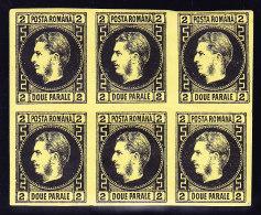 Rumänien - Mi.# 14 X * Mit Falz 6-er Block Schwarz Auf Gelbes Papier - 1881-1918: Charles Ier