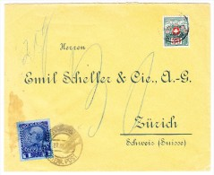 AT Levante Brief Constantinopel 27.9.1913 Mit 1 Pia Dunkelblau Nach Zürich Mit 30Rp. Strafporto - Levante-Marken