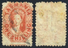 Tasmania 1865. 1sh Vermilion (p12 - Double Lined 12). SG 77. - 1853-1912 Tasmania