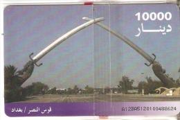 TARJETA DE IRAK DE 10000 DINARS DE UN MONUMENTO CON ESPADAS (NUEVA-MINT) - Irak