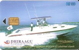TARJETA DE MALDIVES DE RF30 DE UNA EMBARCACION (293MLDG) BARCO-SHIP - Maldivas