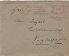 Briefumschlag Brief Deutsches Reich 1929 Freistempel Tucher Brauerei Nürnberg 15 Pfennig An Anton Bayerl Burglengenfeld - Poststempel - Freistempel