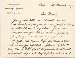 Trappes, Paris 5.11.1899, Léon Teisserenc De Bort, Météorologue, Ballons. Billet Autographe Signé, Cm. 14 X 12,5. - Autographes
