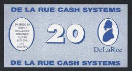 "Test Note ""DE LA RUE CASH Systems A"" 20 Euro, Testnote, Beids. Druck, Sample, RRRRR, UNC -, 132 X 68 Mm - Regno Unito"
