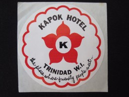 ISLAND HOTEL MOTEL INN KAPOK TRINIDAD TOBAGO WEST INDIES STICKER DECAL LUGGAGE LABEL ETIQUETTE KOFFERAUFKLEBER - Hotel Labels