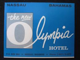 ISLAND HOTEL MOTEL INN OLYMPIA BEACH NASSAU BAHAMAS STICKER DECAL LUGGAGE LABEL ETIQUETTE KOFFERAUFKLEBER - Hotel Labels