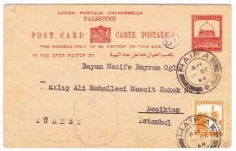 Palästina - Haifa 10.10.1944 Ganzsache Mit Zusatzfrankatur Nach Istanbul - Palestine