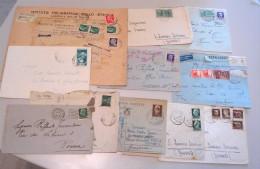 ITALIA REGNO - LOTTO Storia Postale / 10 Buste ED 1 CARTOLINA - 1900-44 Vittorio Emanuele III
