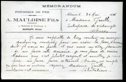 Memorandum *** Alençon (Orne 61 ) *** A. MAULOISE Fils - Fonderie De Fer  *** 1916 - France