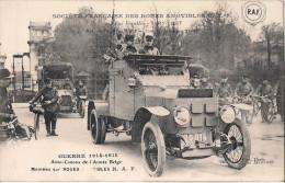 SOCIETE FRANCAISE DES ROUES AMOVIBLES IVRY PORT GUERRE 1914 1915 AUTO CANONS DE L´ARMEE BELGE CACHET AU DOS VOIR SCAN - France