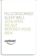 HOTEL CONFORTEL,  REVERSO COLOR OLIVA CON TEXTO , Llave Clef Key Keycard, Karte - Hotel Labels