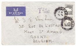 Palästina - Gazza 3.Ju.1939 Luftpost Brief Nach Gent Belgien 20 Cents Tax - Palestine