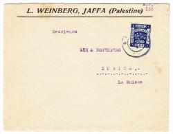 Palästina - Jaffa Brief Nach Zürich Mit EF 1 Piastre Blau - Palestine