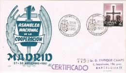 13024. Carta Certificada MADRID 1961. Sindicato Asamblea Cooperacion - 1931-Hoy: 2ª República - ... Juan Carlos I