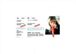 """RENAUD Reims 1986 - Ticket """"invitation"""" complet talon non d�tach�"""