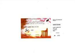 "INDOCHINE Paris Z�nith 10 Mars 1986 - Ticket ""invitation"" complet talon non d�tach�"