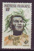 Polinesia, 1958/60 - 4f Man With Headdress - Nr.186 Usato° - Polinesia Francese