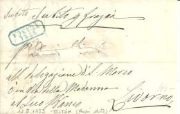 STRADE FERRATE DELLA TOSCANA S.F.M.A.  FRANCA IN CARTELLA AZZURRA 12\5\1853  LETTERA CON TESTO DA PISTOIA PER LIVORNO - Toscana