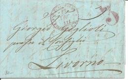 STRADE FERRATE DELLA TOSCANA S.F. LEOPOLDA 13 NOV 1853 + 3 IN ROSSO  LETTERA CON TESTO DA FIRENZE PER LIVORNO - Toscana