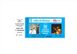 "Jimmy CLIFF The COMMUNARDS  Stade de Reims 1986 - Ticket ""invitation"" complet talon non d�tach�"