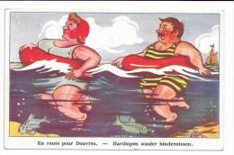 """Couple De Nageurs Avec Bouées: """"En Route Pour Douvres"""". - Humour"""