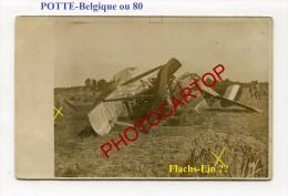 POTTE-Avion Abattu-Carte Photo Allemande-Guerre14-18-1 WK-BELGIQUE-France-80-Fliegerei-Aviation-Aircraft-Militaria- - Celles