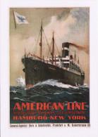 Postcard Marine Poster Art American Line SS Mongolia Hamburg New York Steam Ship - Advertising