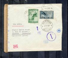 Courrier Censuré- Envoi En Recommandé- De L´Italie Vers La France-  Censure Italienne Et Allemande - Storia Postale