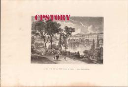 69 LYON < PARC De La TETE D'OR < GRAVURE 19e Signé JAPETON - DESSIN D´ANASTASI - Prenten & Gravure
