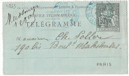 PARIS 5 PL. DE LA REPUBLIQUE, Levée *, Sur Carte Télégraphe Chaplain 50c. - Pneumatiques