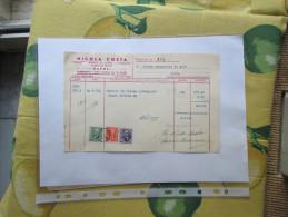 1941 FATTURA Commerciale Nicola COSTA Napoli Industria Candele Da Chiesa N.3 Marche Da Bollo Differenti - Italie
