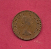 SOUTH AFRICA, Circulated Coin XF, 1955, 1/2 Penny, Elizabeth II,  KM45,  C1408 - 1902-1971 : Post-Victorian Coins