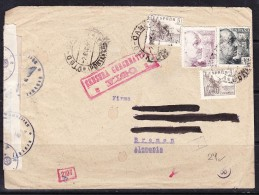 COVERS-3-19 LETTER FROM VIGO TO BREMEN, GERMANY. SPAIN AND GERMAN CENZURA. - 1931-50 Lettres