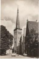Tallinn Estonia, Oleviste Church, Street Scene, 1960s Vintage Real Photo Postcard - Estonia