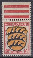 AllBes. FranzZone 8, Postfrisch ** Mit Oberrand, Abart: Links Vom Wappen Rote Eindrucke - Französische Zone