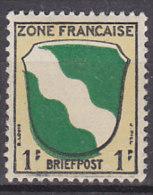 AllBes FranzZone  1, Postfrisch **, Abart: Grün Nach Unten Verschoben, Unterer Rand Mit Schatten - Französische Zone